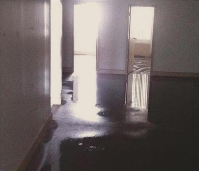 water flooding carpet in several rooms and doorways