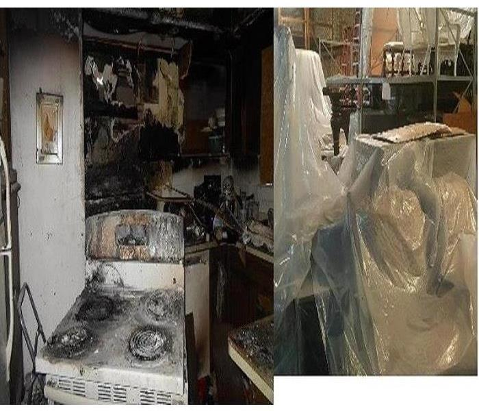 Large fire and soot damaged contents